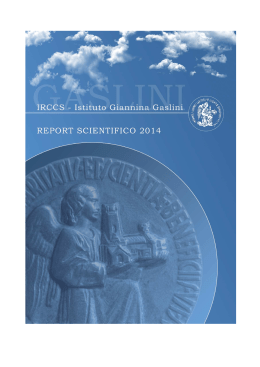 Report Scientifico 2014 - Istituto Giannina Gaslini