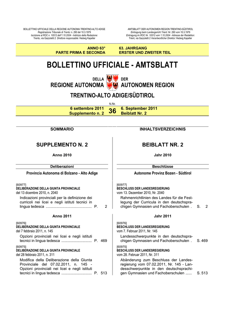 BOLLETTINO UFFICIALE - AMTSBLATT
