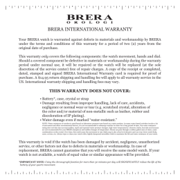 BRERA INTERNATIONAL WARRANTY
