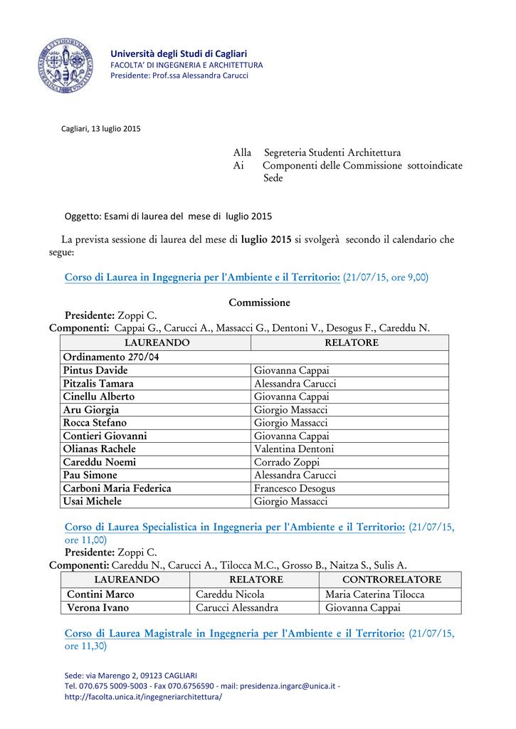 Calendario Lauree Unica Ingegneria.Ingegneria Facolta Universita Degli Studi Di Cagliari