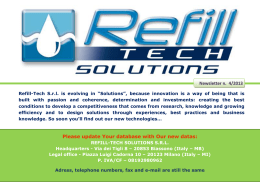 Please update Your database with Our new datas - Refill-Tech