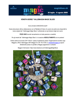 "VENDITA BORSE ""VALLEMAGGIA MAGIC BLUES"