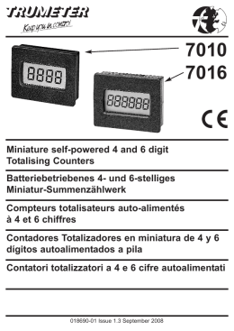 Miniature self-powered 4 and 6 digit Totalising Counters