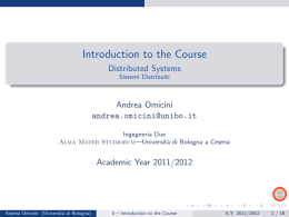 Introduction to the Course - Distributed Systems Sistemi Distribuiti