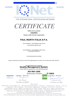 PAUL WURTH ITALIA S.P.A. Quality Management
