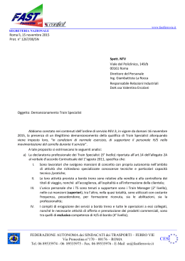 Lettera a NTV: Demansionamento Train Specialist