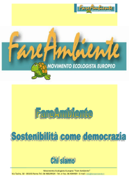 "1 Movimento Ecologista Europeo ""Fare Ambiente"" Via Tacito, 50"