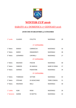 WINTER CUP 2016 - Golf Nazionale