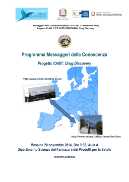 atti disseminazione 18nov - School of Life Sciences