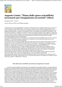 "(Auguste Comte, ""Piano delle opere scientifiche necessarie per"