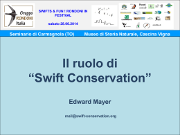 The Role of Swift Conservation - Museo Civico di Storia Naturale di