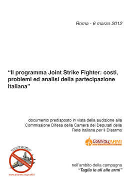 """Il programma Joint Strike Fighter: costi, problemi ed analisi della"