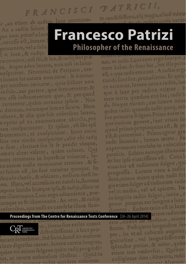 FRANCESCO PATRIZI Philosopher of the Renaissance