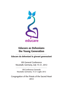 Educare as Dehonians the Young Generation