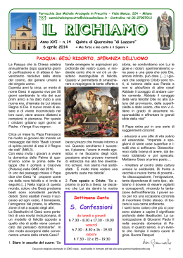 Editoriale 2014.04.06 - Parrocchia San Michele Arcangelo In Precotto
