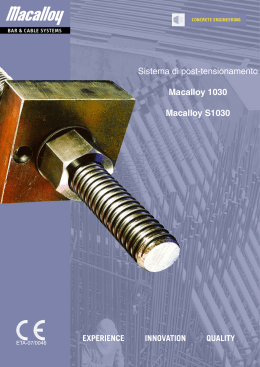 Sistema di post-tensionamento Macalloy 1030 Macalloy S1030
