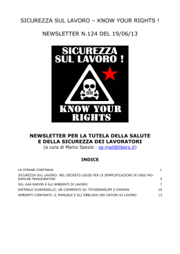 sicurezza sul lavoro – know your rights