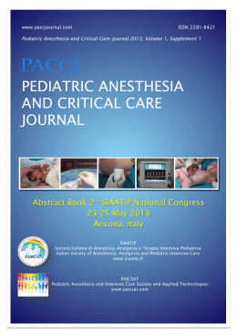 pediatric anesthesia and critical care journal