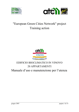 project Training action Manuale d`uso e manutenzione per l`utenza