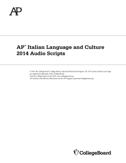 AP Italian Language and Culture 2014 Audio Scripts