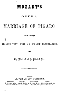 mozart`s marriage of figaro