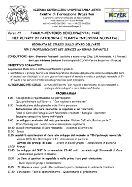 Family-centered developmental care in patologia neonatale