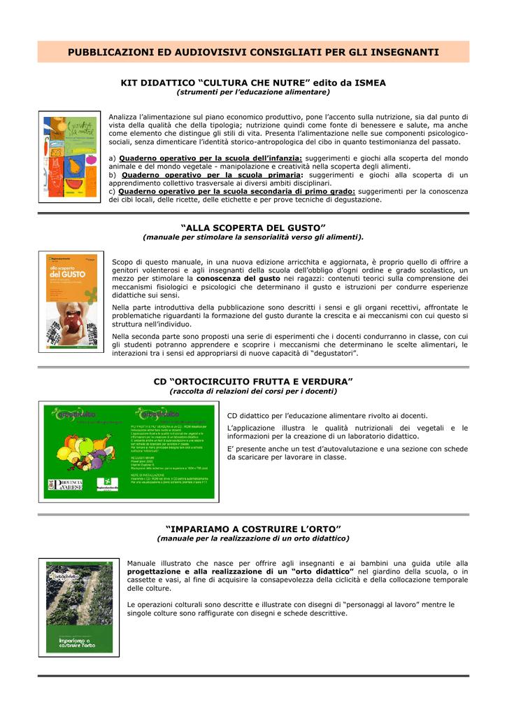 Pubblicazioni Ed Audiovisivi Consigliati Per Gli Insegnanti