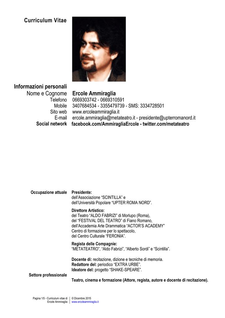 Curriculum Vitae Attore Owexxhosting