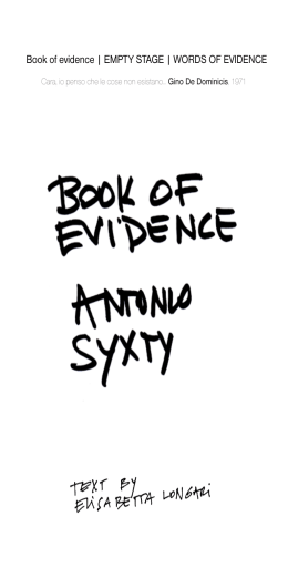 Book of evidence | EMPTY STAGE | WORDS OF EVIDENCE