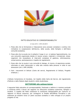 PATTO EDUCATIVO DI CORRESPONSABILITA