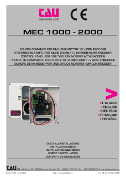 MEC 1000 - 2000 - Automatic sliding gates and doors