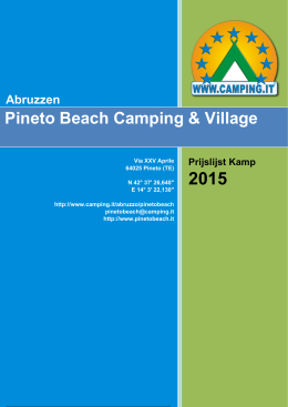 Pineto Beach Camping & Village Price List