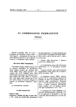 VI COMMISSIONE PERMANENTE