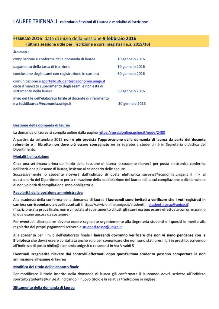 Calendario Esami Unige.9 Febbraio 2016 Facolta Di Economia