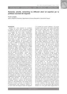 ITALIAN JOURNAL OF PUBLIC HEALTH Razionale, priorità