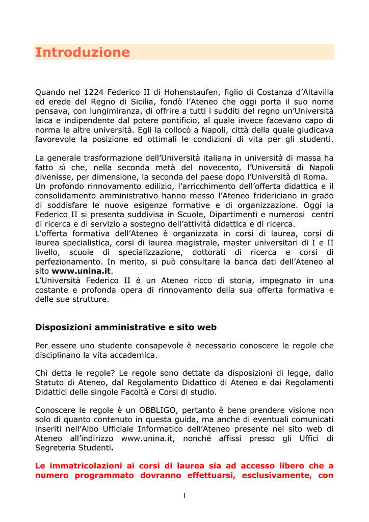 Calendario Appelli Unina.Introduzione Universita Degli Studi Di Napoli Federico Ii
