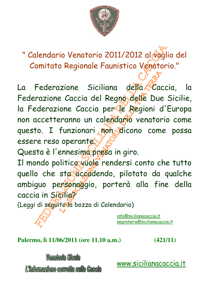 Gazzetta Ufficiale Calendario Venatorio Sicilia.Scarica File Federazione Siciliana Della Caccia