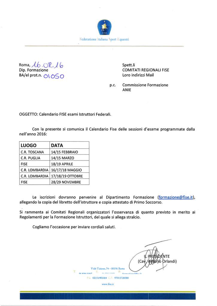 Fise Calendario.Calendario Esami Istruttori Federali Anno 2016