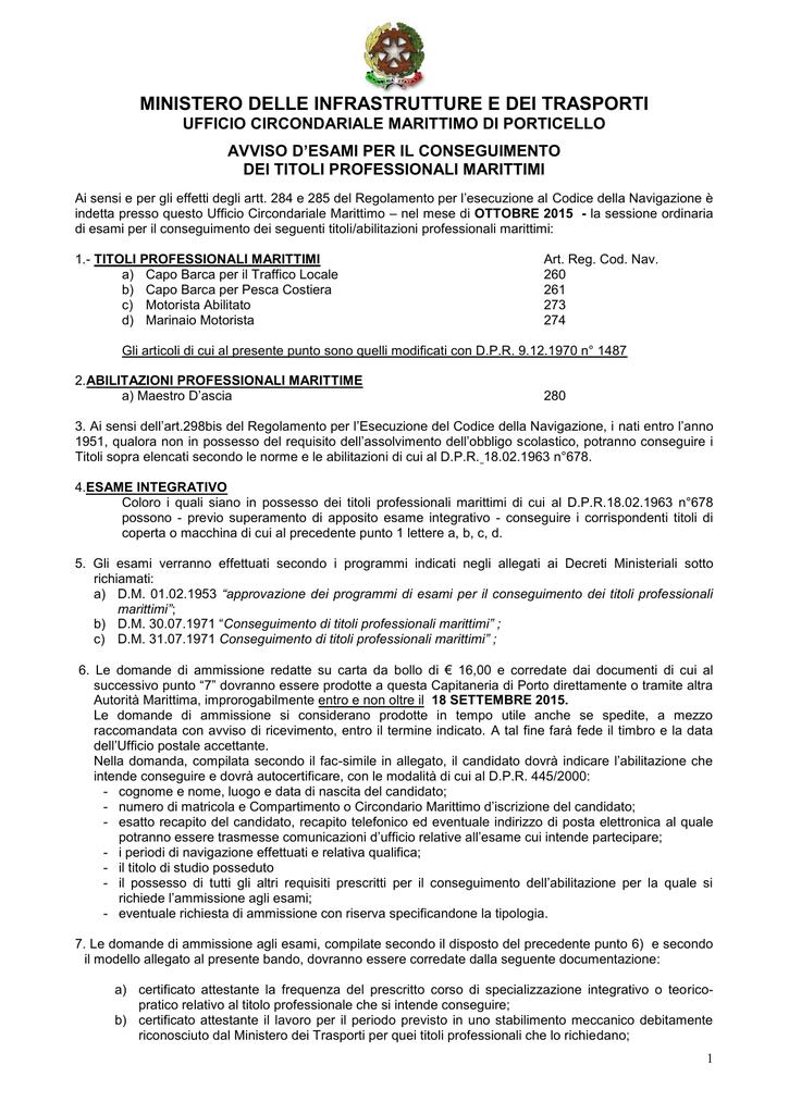 Calendario Esami Titoli Professionali Marittimi.Bando Di Esami Ottobre 2015