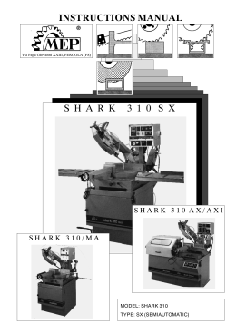 Instructions Manual SHARK 310 SX