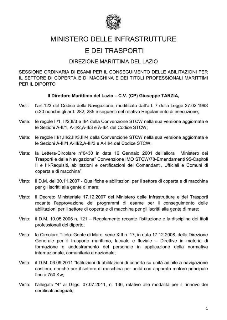 Calendario Esami Titoli Professionali Marittimi.Ministero Delle Infrastrutture E Dei Trasporti