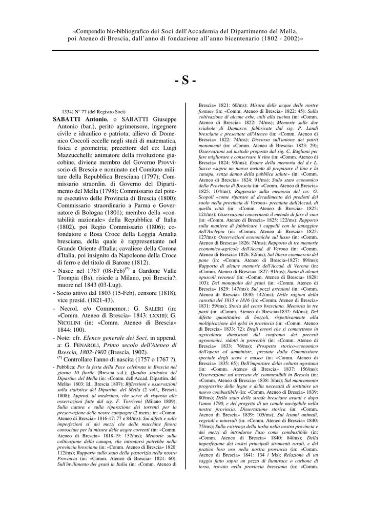Compendio bio-bibliografico dei Soci dell`Accademia