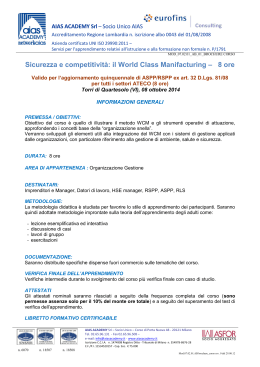 Sicurezza e competitività: il World Class Manifacturing – 8 ore