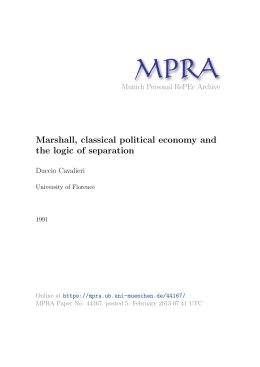 Marshall, classical political economy and the logic of separation