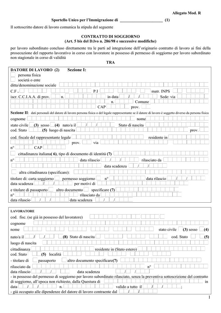 istruzioni per la compilazione del contratto di soggiorno ...