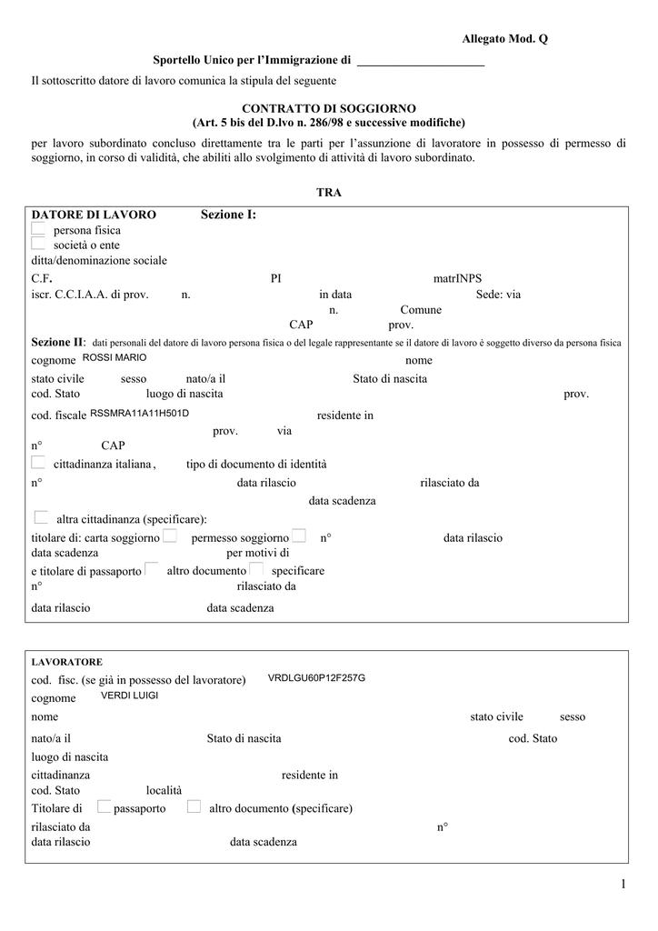Esempio Contratto di Soggiorno