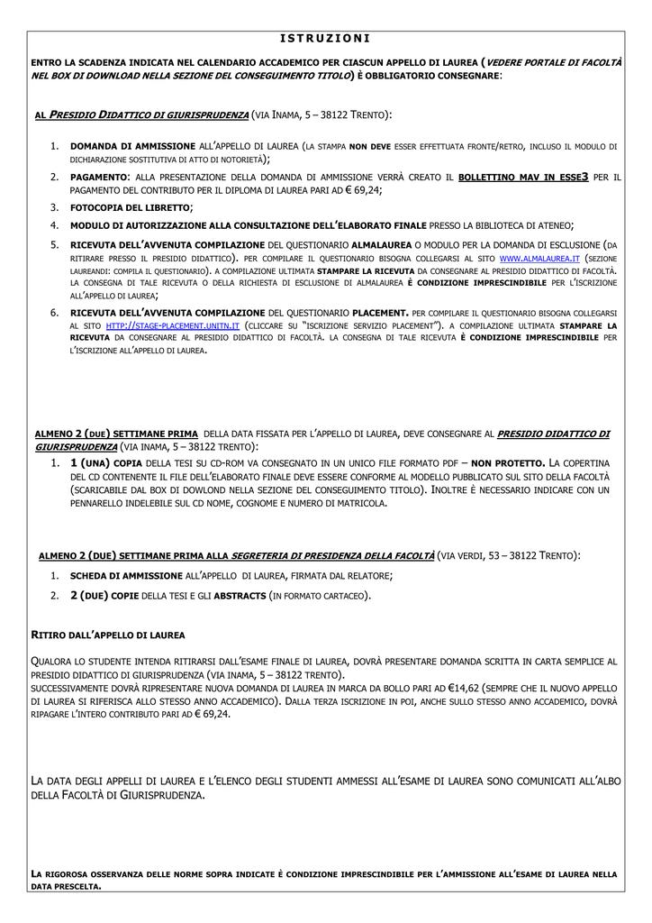 Unitn Calendario Accademico.Modulo Conseguimento Titolo Universita Degli Studi Di Trento