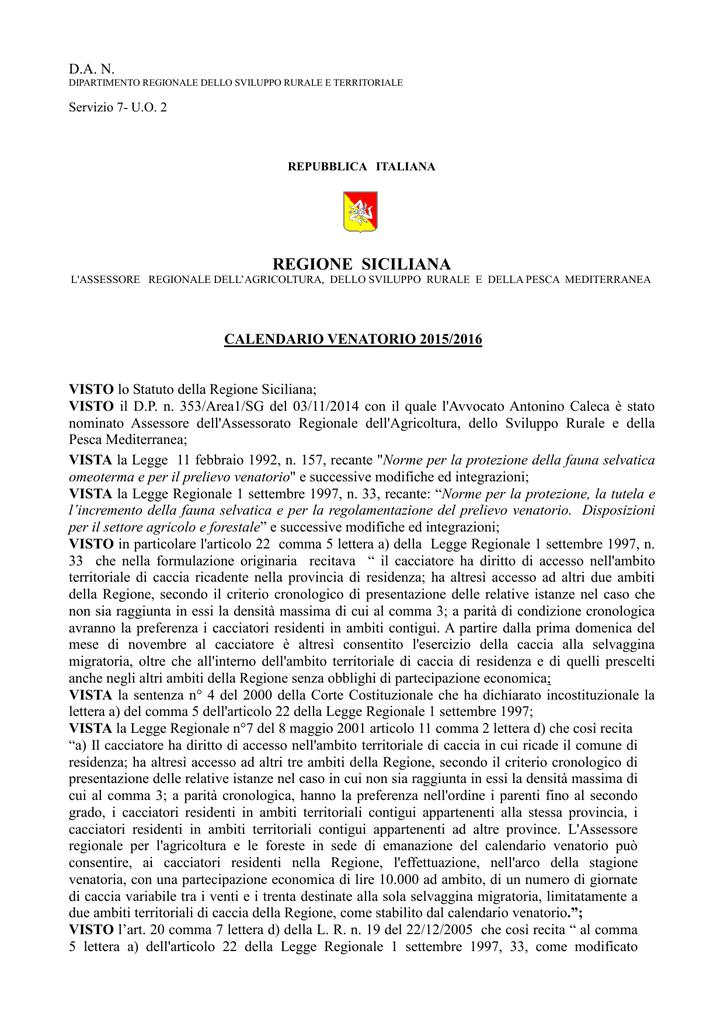 Gazzetta Ufficiale Calendario Venatorio Sicilia.Calendario Venatorio 2015 2016