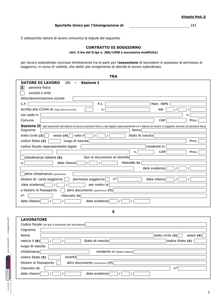 Contratto di soggiorno mod. Q1