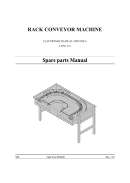 RACK CONVEYOR MACHINE Spare parts Manual